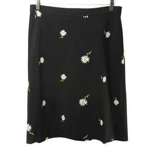 KAREN KANE Black Embroidered Daisy A-Line Skirt
